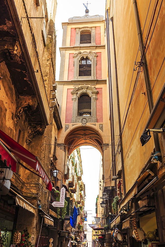 Via San Gregorio Armeno, famous for presepi (Christmas cribs), City of Naples Historic Centre, UNESCO World Heritage Site, Campania, Italy, Europe