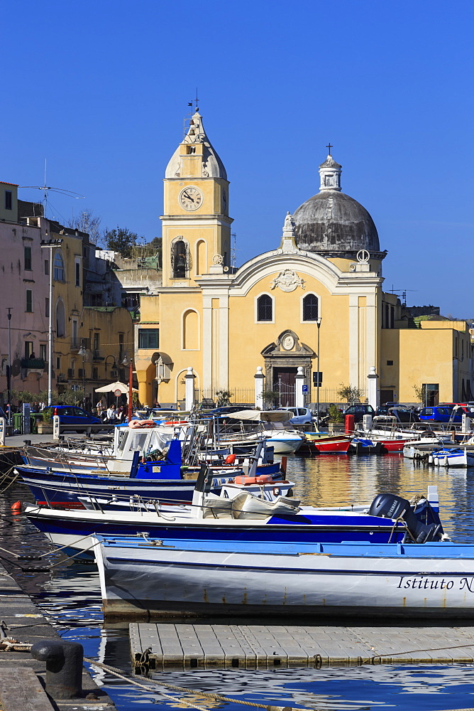 Procida Porto, Marina Grande boats and Santa Maria della Pieta church, Procida Island, Bay of Naples, Campania, Italy, Europe