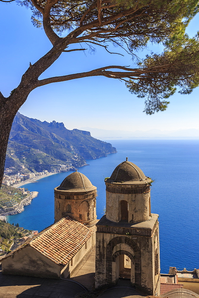 Iconic Amalfi Coast, church and umbrella pine from Villa Rufolo Gardens, Ravello, UNESCO World Heritage Site, Campania, Italy, Europe