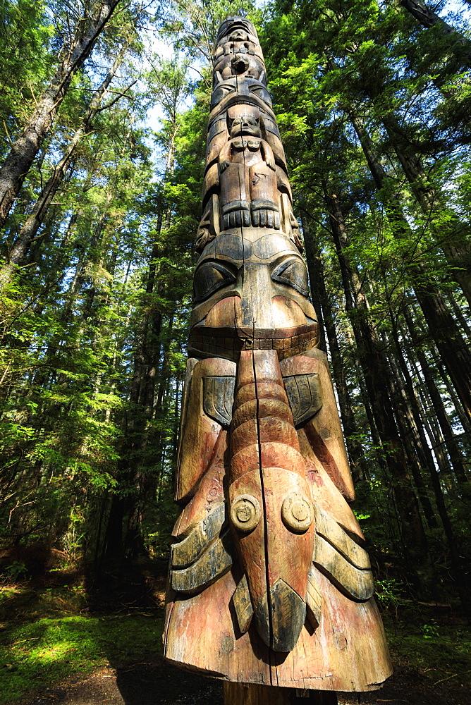 Lakich'inei Pole, Tlingit totem pole, lit by sun in rainforest, Sitka National Historic Park, Sitka, Baranof Island, Alaska, USA