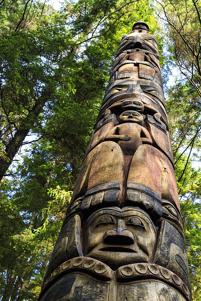 Mosquito Legend Pole, Tlingit totem pole, rainforest, Summer, Sitka National Historic Park, Sitka, Baranof Island, Alaska, USA
