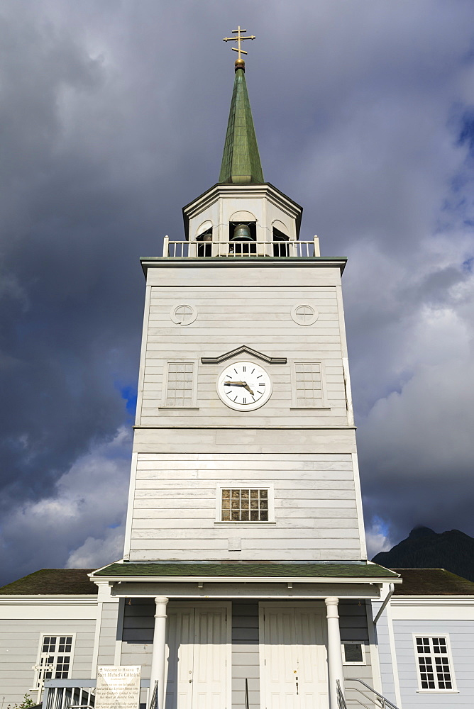 St Michael's Cathedral, historic Russian Orthodox building, rare sunny day, Sitka, Baranof Island, Southeast Alaska, USA