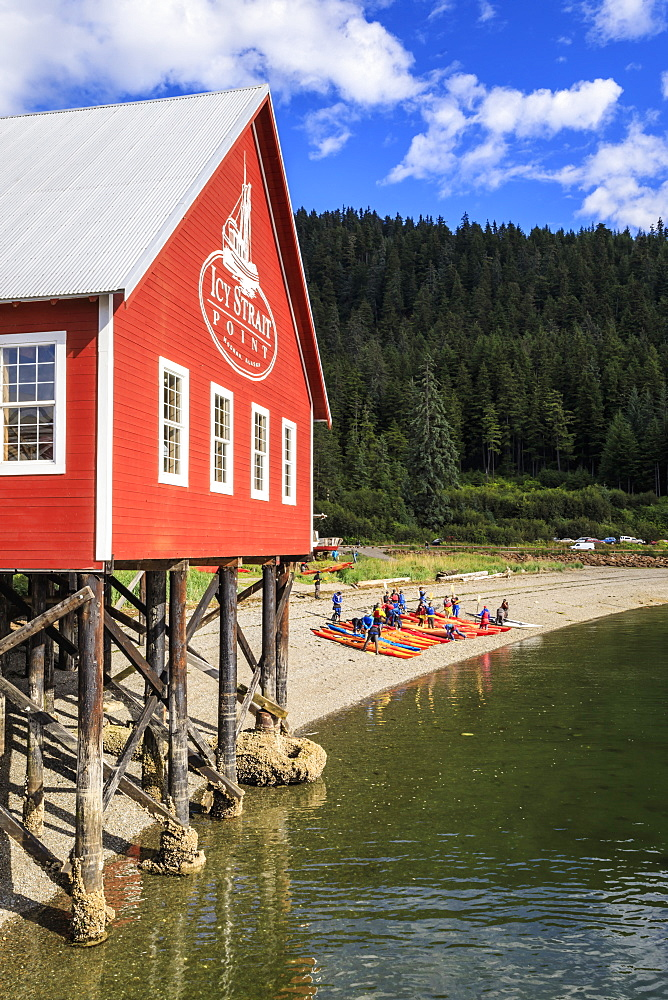 Restored salmon cannery museum and kayaks, Icy Strait Point, Hoonah, Summer, Chichagof Island, Inside Passage, Alaska, USA
