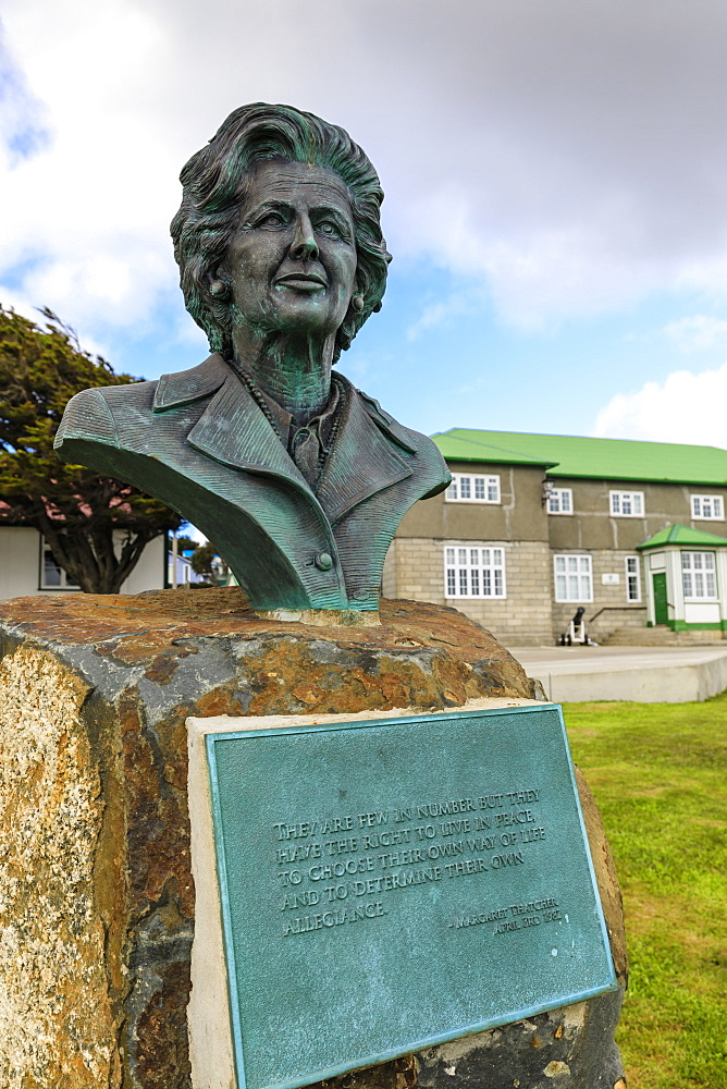 Margaret Thatcher bronze statue, brass plaque, Secretariat, Central Stanley, Port Stanley, Falkland Islands, South America - 1167-1815