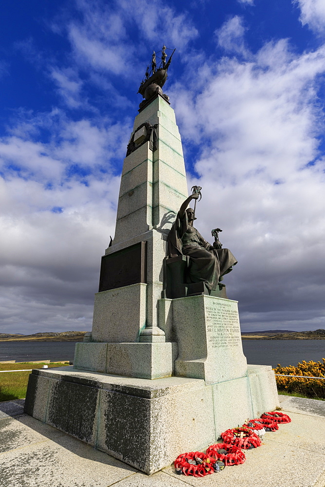 1914 Battle of the Falklands Memorial, sea, distant mountains, Stanley waterfront, Port Stanley, Falkland Islands, South America - 1167-1821