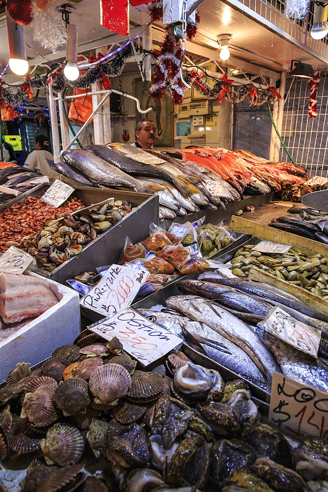 Attractive fresh fish stall, Mercado Central (Central Market), Santiago Centro, Santiago de Chile, Chile, South America - 1167-1851