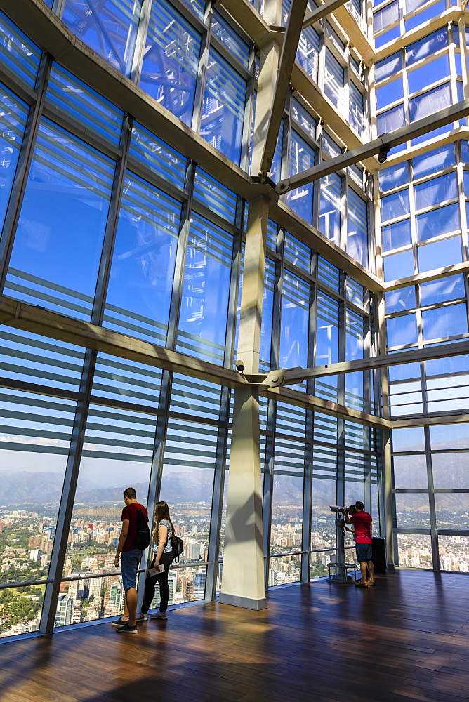 Couples, open viewing deck, Gran Torre Santiago, South America's tallest building, Costanera Center, Las Condes, Santiago, Chile, South America