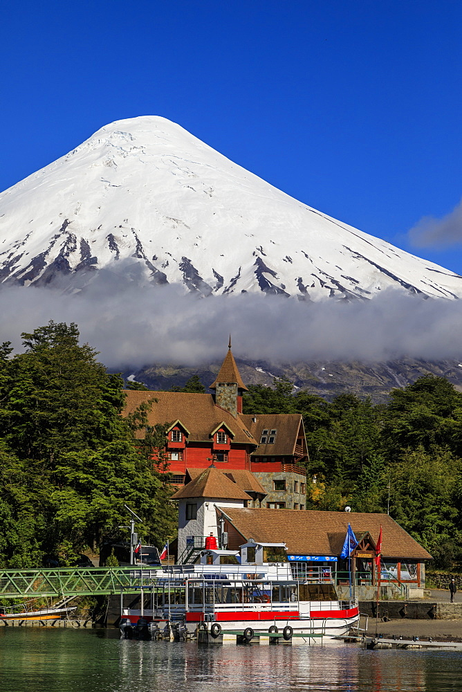 Petrohue, snow-capped, conical Osorno volcano, Lake Todos Los Santos, Vicente Perez Rosales National Park, Lakes District, Chile, South America - 1167-1880