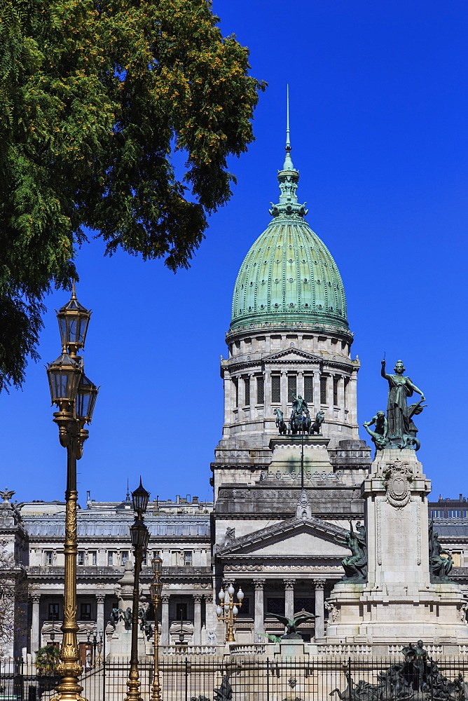Green domed Palacio del Congreso, Plaza Congreso, Congreso and Tribunales, Buenos Aires, Argentina, South America - 1167-1898
