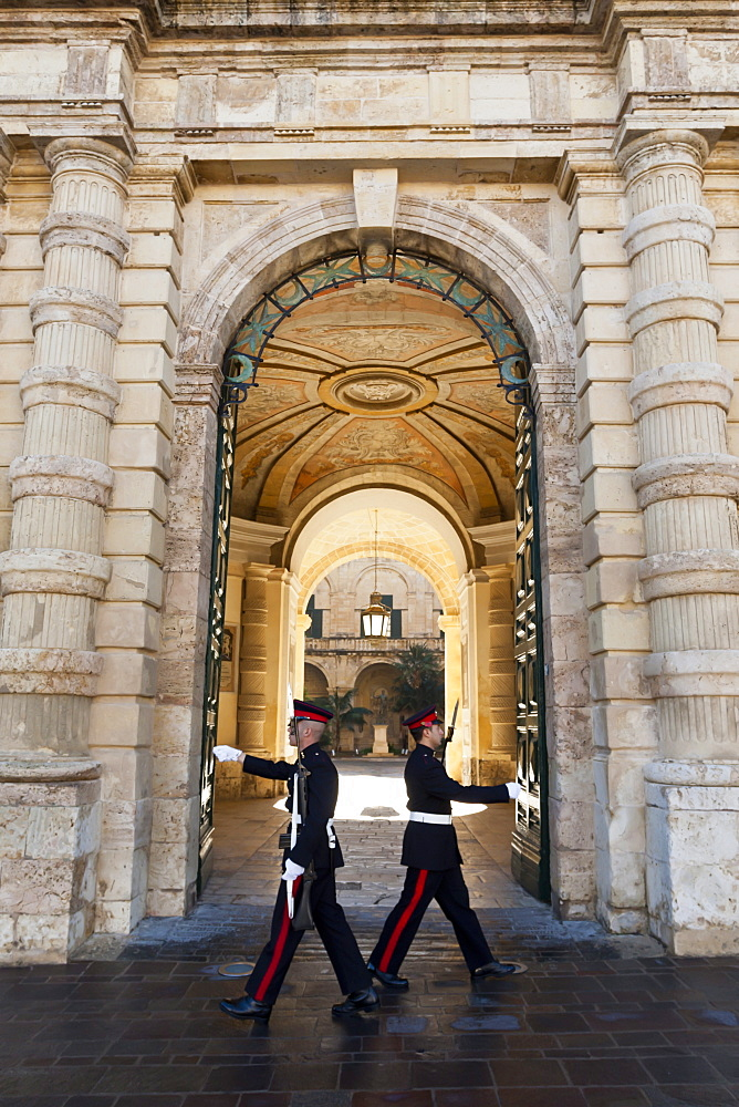 Soldiers marching, Grand Master's Palace (President's Palace), Valletta, Malta, Europe