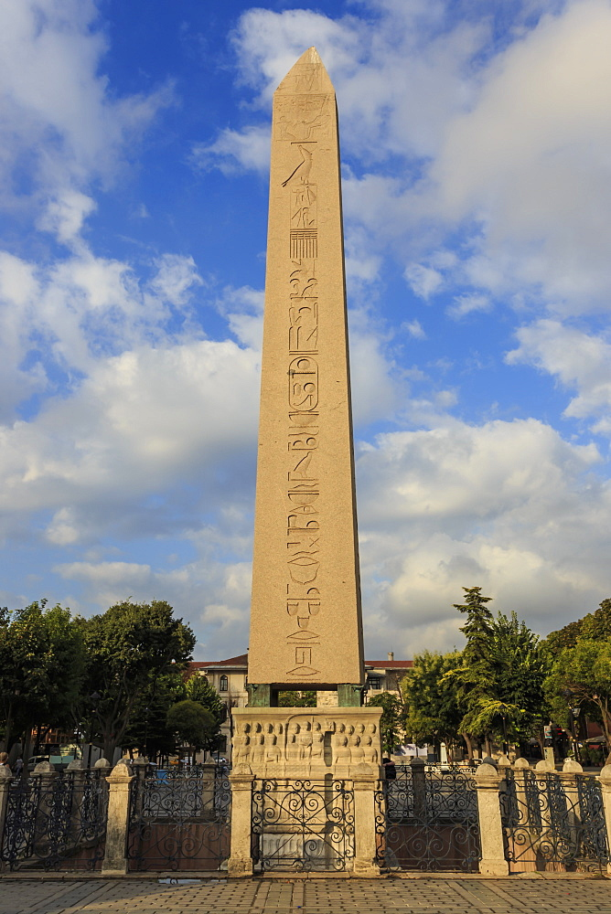 Egyptian Obelisk with hieroglyphics and base frieze, Hippodrome, August early morning, Sultanahmet District, Istanbul, Turkey, Europe