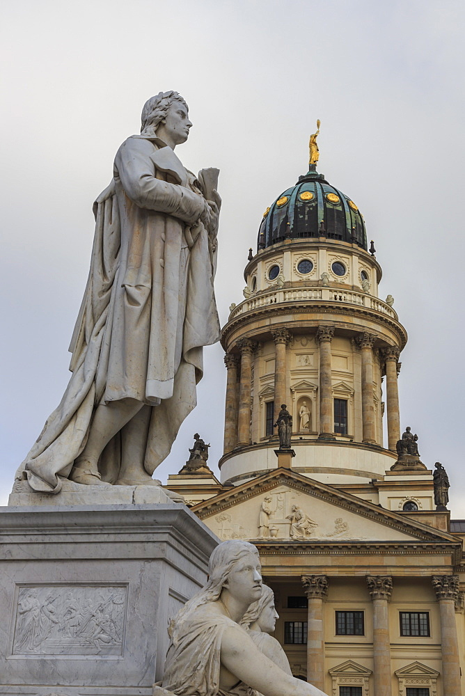 Franzosischer Dom (French Cathedral) and Schiller's Monument detail, Gendarmenmarkt, Mitte, Berlin, Germany, Europe