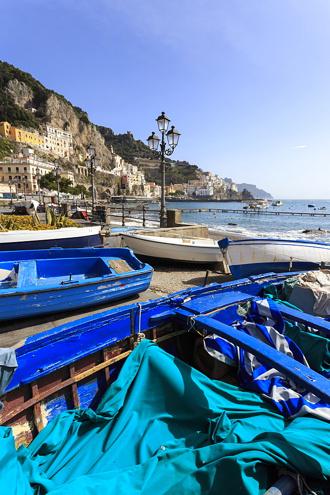 Fishing boats on shore, Amalfi waterfront, Costiera Amalfitana (Amalfi Coast), UNESCO World Heritage Site, Campania, Italy, Europe