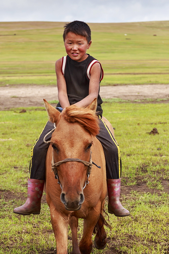 Horse and boy riding bareback at summer nomad camp, Khujirt, Uvurkhangai (Ovorkhangai), Central Mongolia, Central Asia, Asia