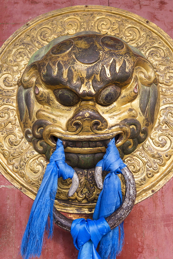 Ornate door handle, Erdene Zuu Khiid, Buddhist Monastery, Kharkhorin (Karakorum), Central Mongolia, Central Asia, Asia