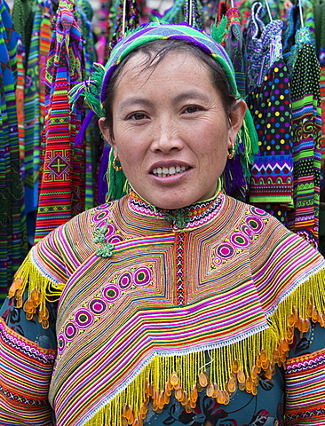 Woman from Flower Hmong ethnic group, Can Cau market, Bac Ha area, Sapa region, Lao Cai Province, Vietnam, Indochina, Southeast Asia, Asia - 1170-163