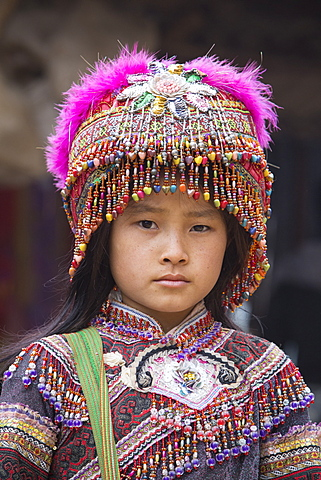 Girl from Flower Hmong ethnic group, Can Cau market, Bac Ha area, Sapa region, Lao Cai Province, Vietnam, Indochina, Southeast Asia, Asia