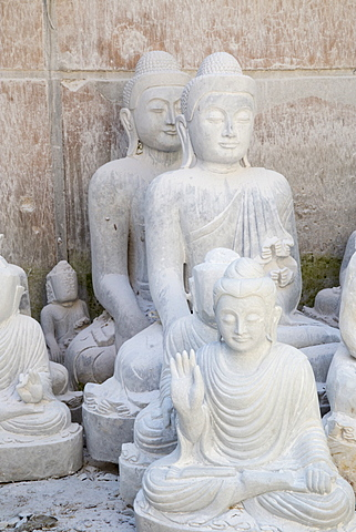 White marble Buddha statues awaiting completion, Stone carvers district, Amarapura, near Mandalay, Myanmar (Burma), Asia - 1170-180