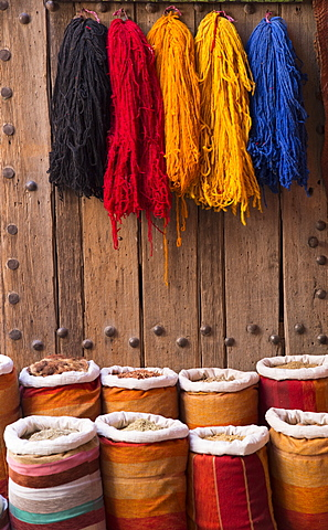 Souk, sacks of Berber herbs and dyed wool in the wool dyers district, Old Medina, Marrakesh (Marrakech), Morocco, North Africa