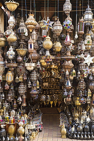 Metal lanterns in the old souk, Old Medina, Marrakesh (Marrakech), Morocco, North Africa