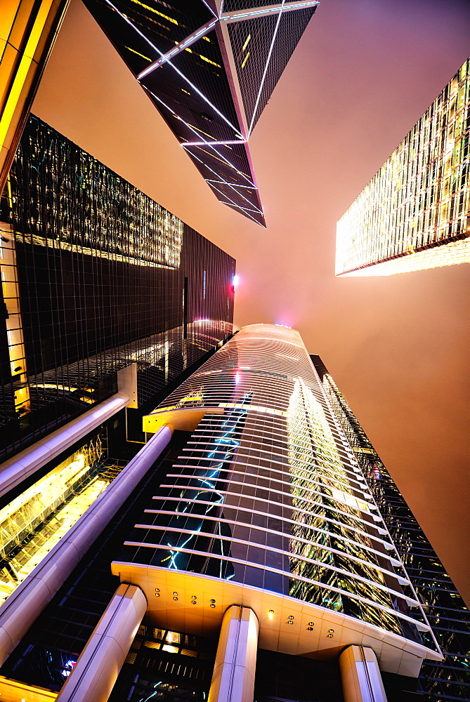 HSBC and BOC towers at night, Hong Kong, China, Asia