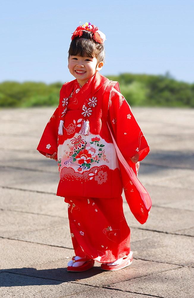 Japanese Girl Dressed for SchichiGoSan Ceremony