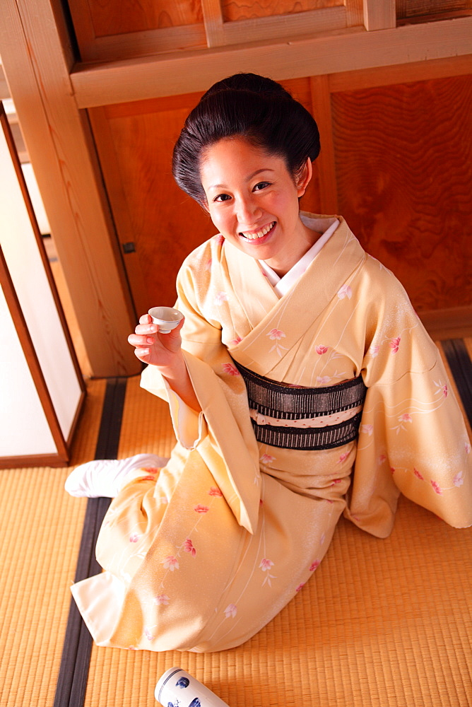 Japanese Lady in Traditional Kimono
