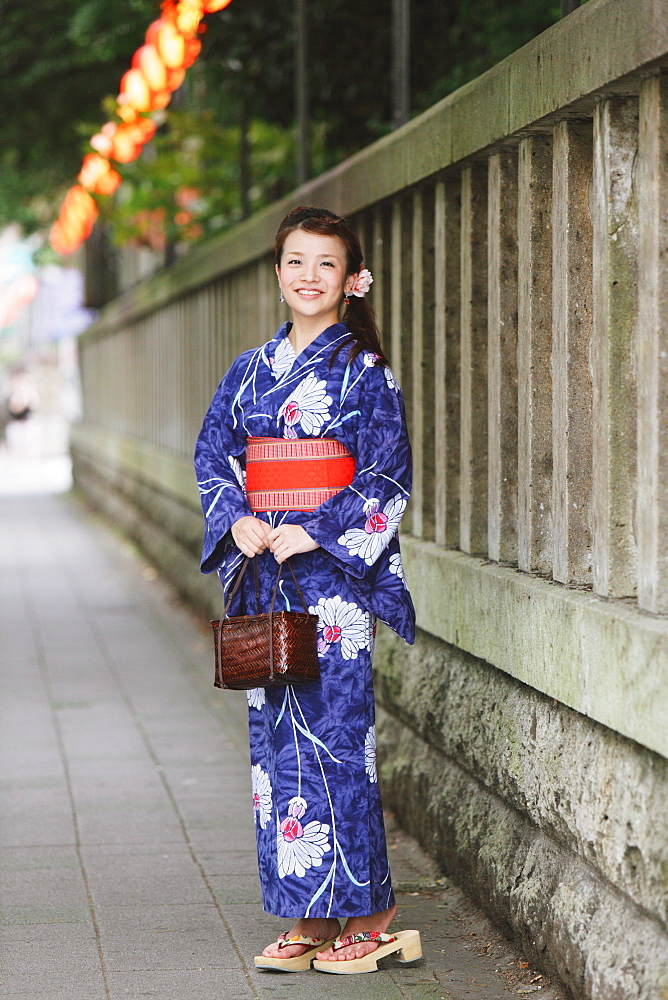 Young Japanese Woman in Summer Yukata
