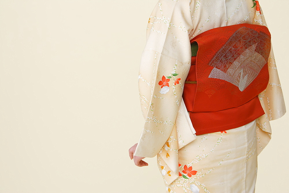 Midriff of Woman Wearing Obi