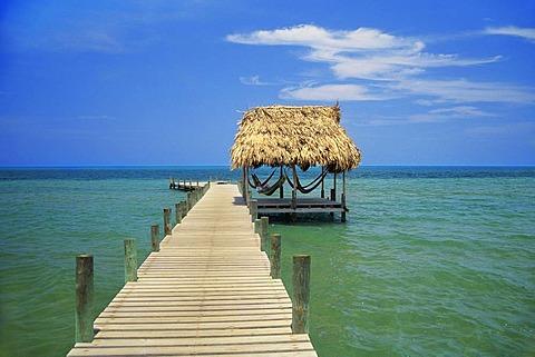 Jetty and hammocks, Pelican Beach resort, Dangriga, Belize
