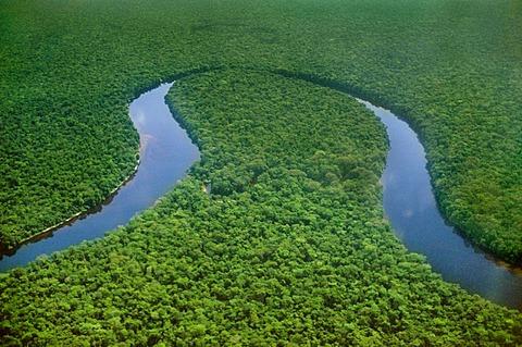 Meandering river (aerial), Congo Basin, Congo, DRC, Democratic Republic of the Congo