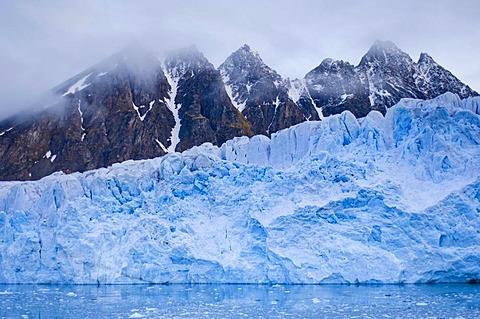 Glacier and mountains, Monaco Glacier, Svalbard, Norway