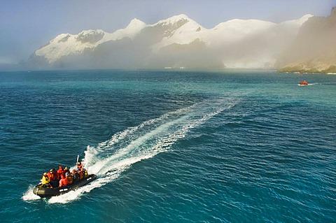 Tourists returning to cruise ship from Elephant Island, South Shetland Archipelago, Antarctica