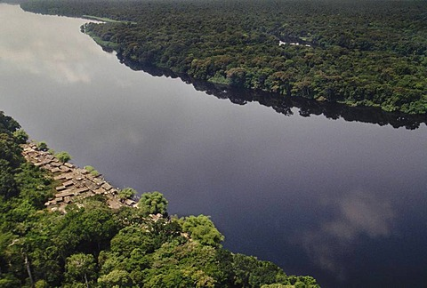 Village along tributary of Congo River, aerial view, Congo