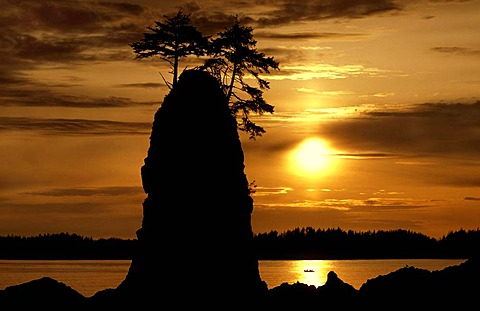 Sea stack and fishing boat at sunset, Vancouver Island, British Columbia, Canada