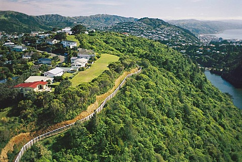 Aerial view of the perimeter fence of Karori Wildlife Sanctuary keeps out non-native animals, Wellington, New Zealand