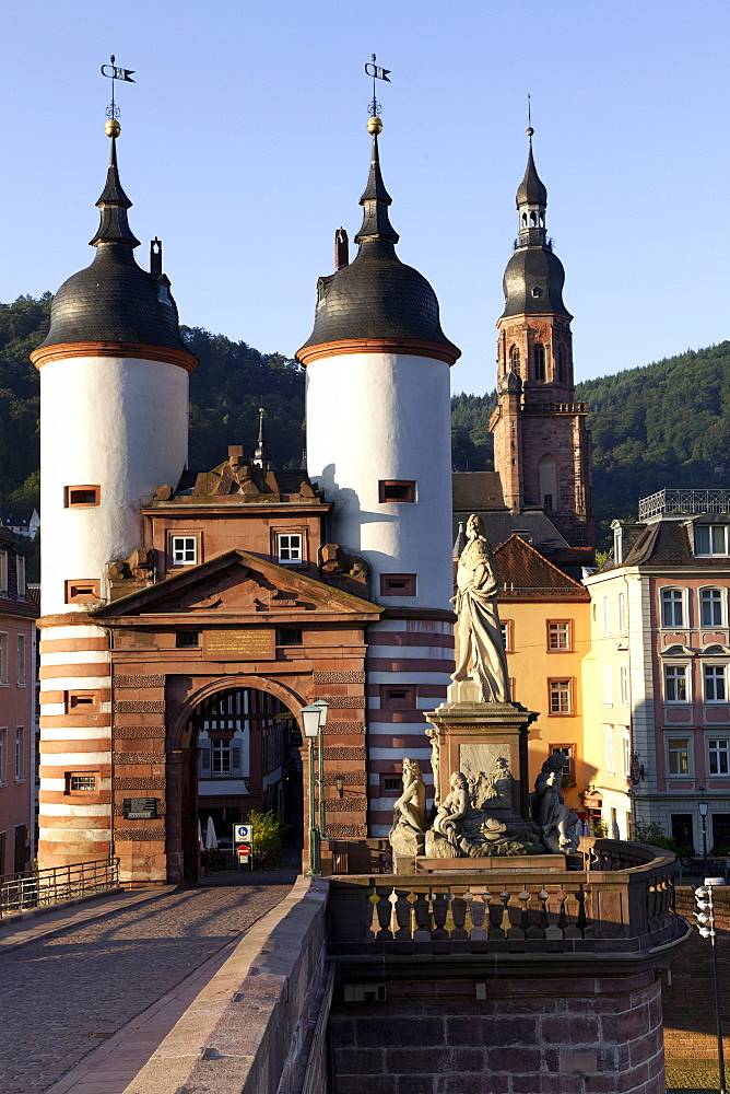 View of Karl-Theodor Bridge Gate at Heidelberg, Germany