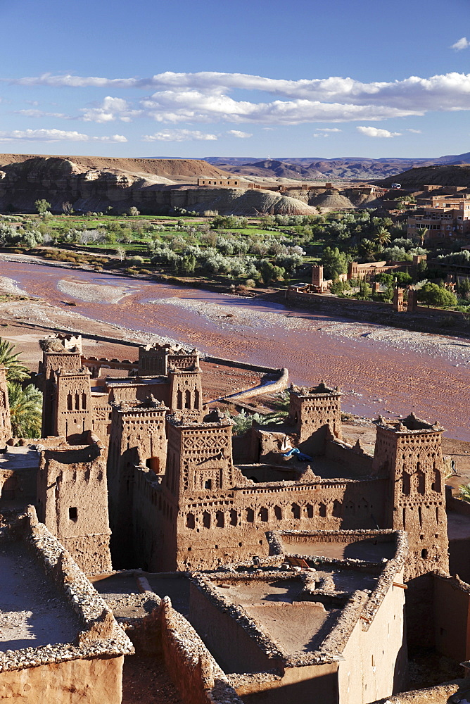 A view of Ait-Ben-Haddou – a traditional clay-built village at the foot of the high Atlas Mountains, Morocco