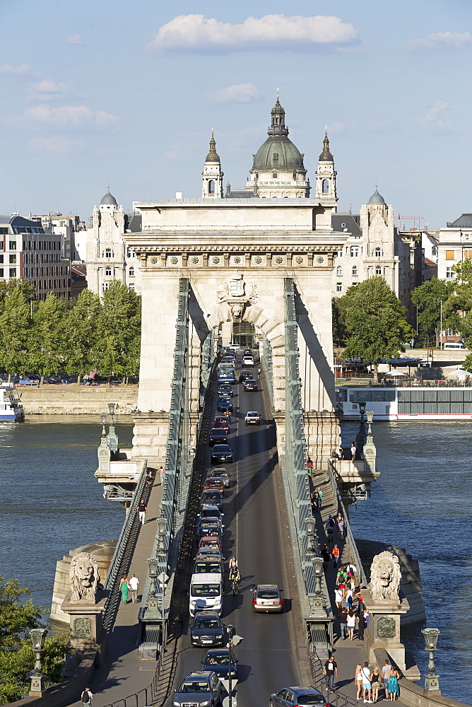 A view of the Chain Bridge, the first solid bridge between Buda and Pest, Hungary