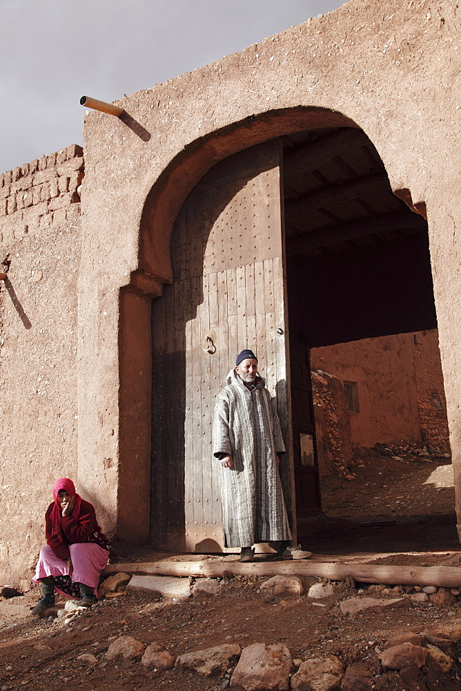 The main entrance of the Ait-Ben-Haddou kasbah near Ourzazate - a traditional clay-built village at the foot of the High Atlas Mountains, Morocco