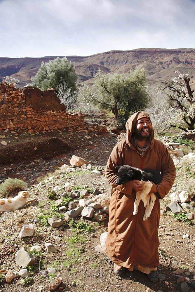 A farmer near the Tizi n'Tichka pass in the High Atlas Mountains, Morocco