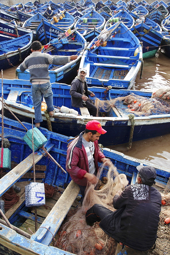 Fishermen in the morning in the busy fishing harbour of the former Portuguese colony, Essaouira, Morocco