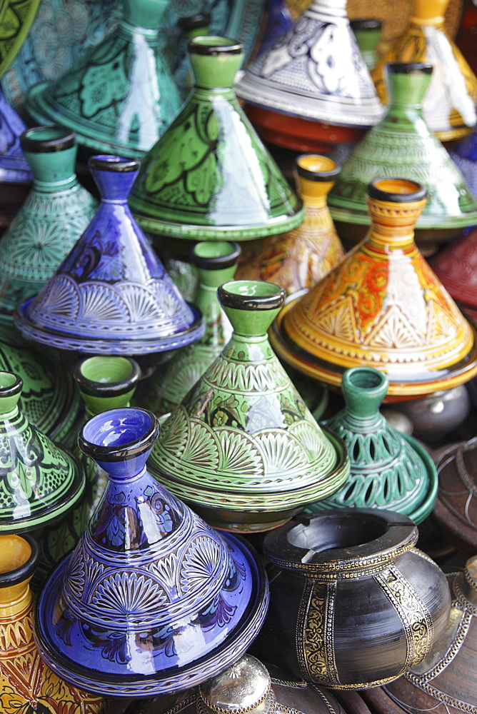 Tagines as souvenirs in the souk, Marrakesh, Morocco