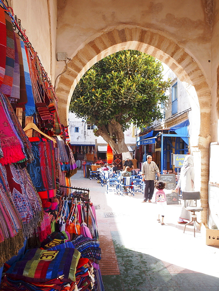 Handicrafted textiles for sale in the Medina of Essaouira, Morocco