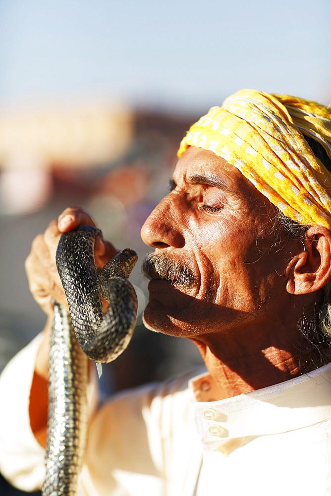 A snake charmer, Marrakesh, Morocco