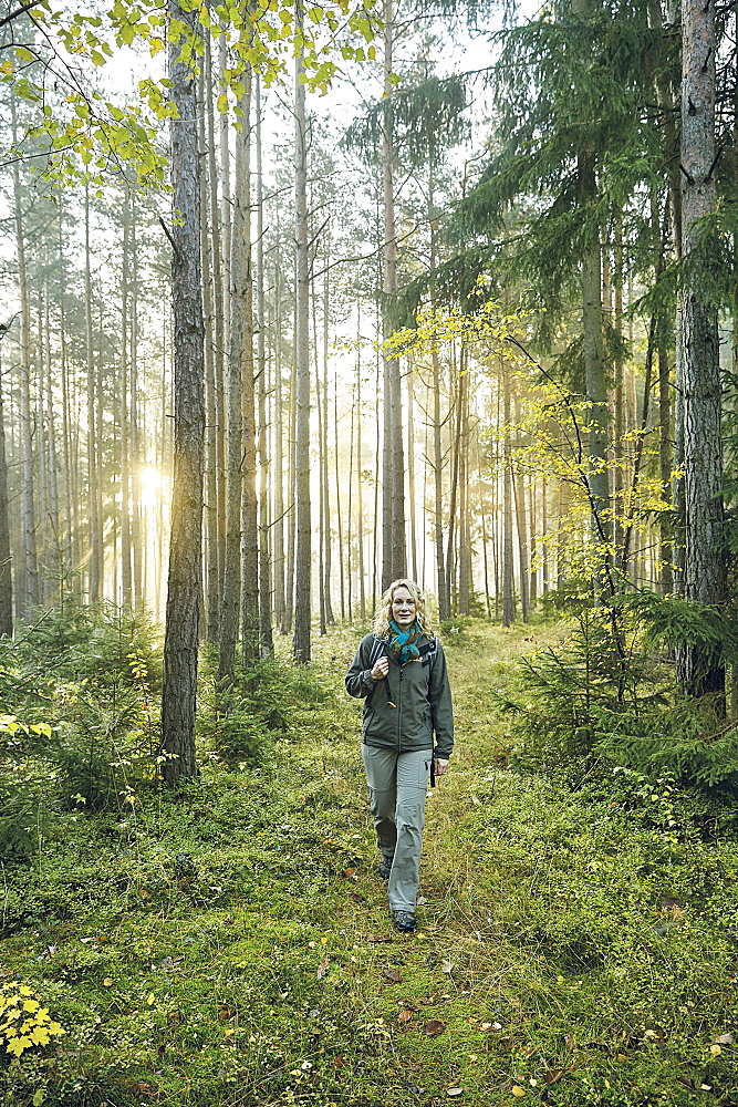 Nature researcher Franziska Jacob hiking, Thuringian Highlands, Obere Saale, Thuringia, Germany