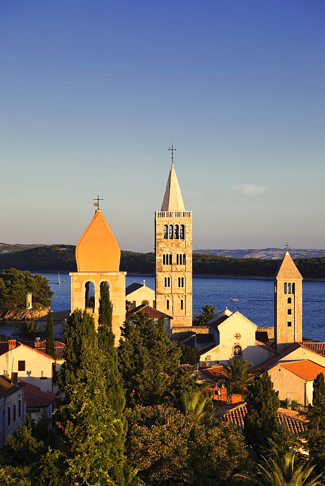 View of Town Rab with Steeples and Adriatic sea in Croatia