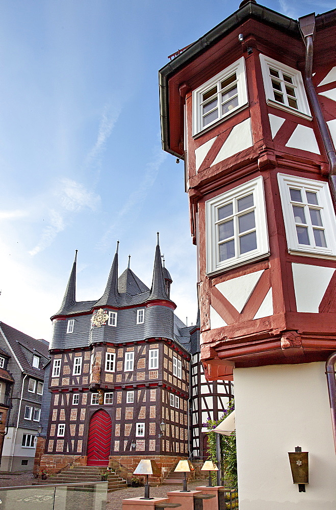 View of City Hall and Hotel Sonne, Frankenberg, Hesse, Germany
