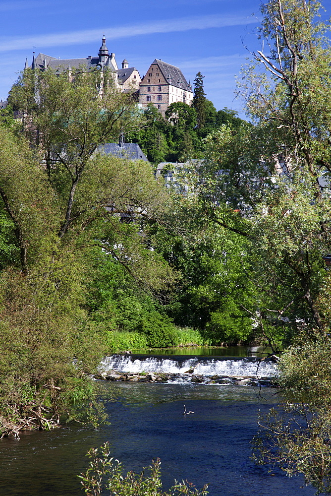 View of castle and river Lahn in Marburg, Hesse, Germany