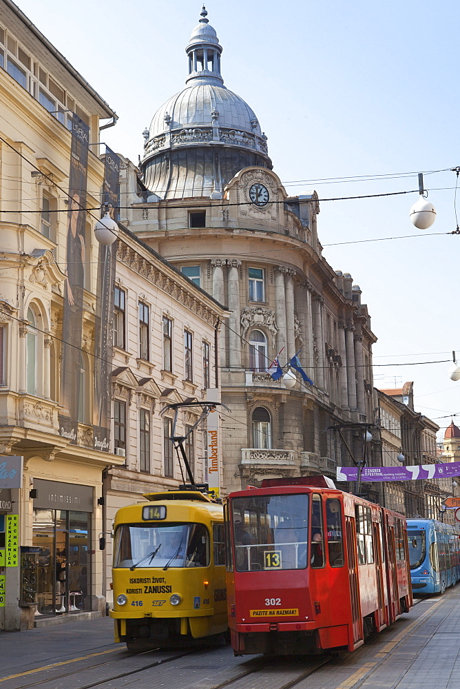 Trams in the old shopping street Ilica, Zagreb, Croatia